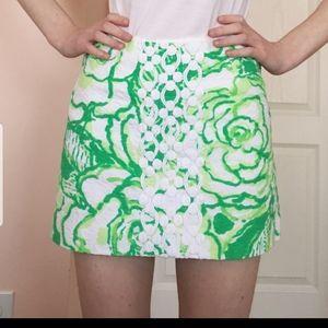 Lilly Pulitzer Green Tate Lace Mini Skirt 2 & 4